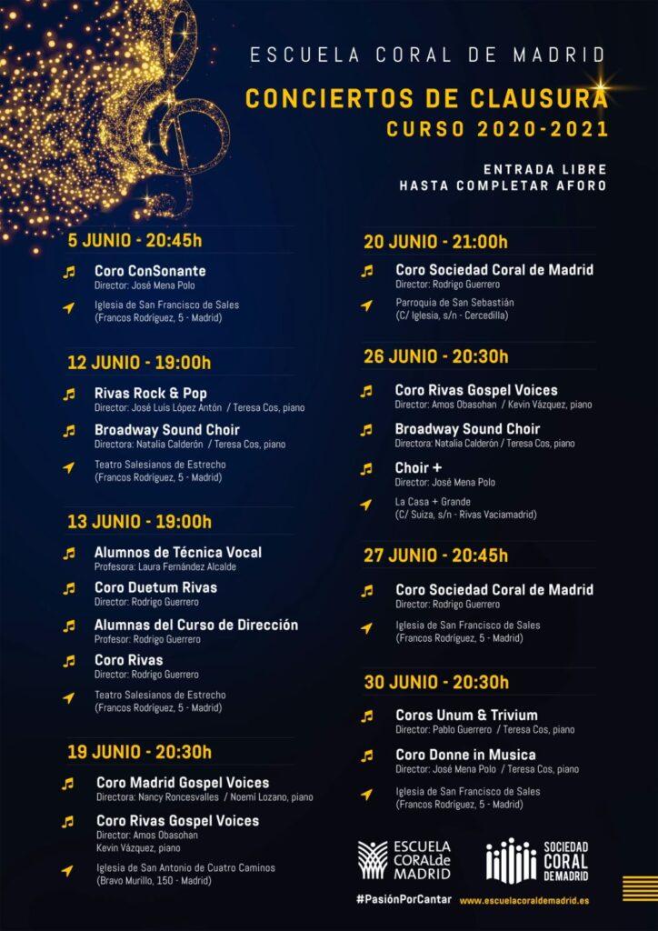 Cartel con los conciertos de clausura del curso 2020-2021